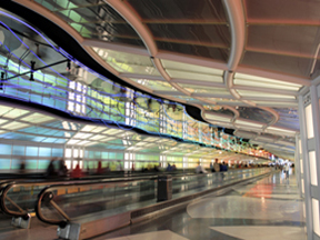 automatic messaging systems for moving walkways